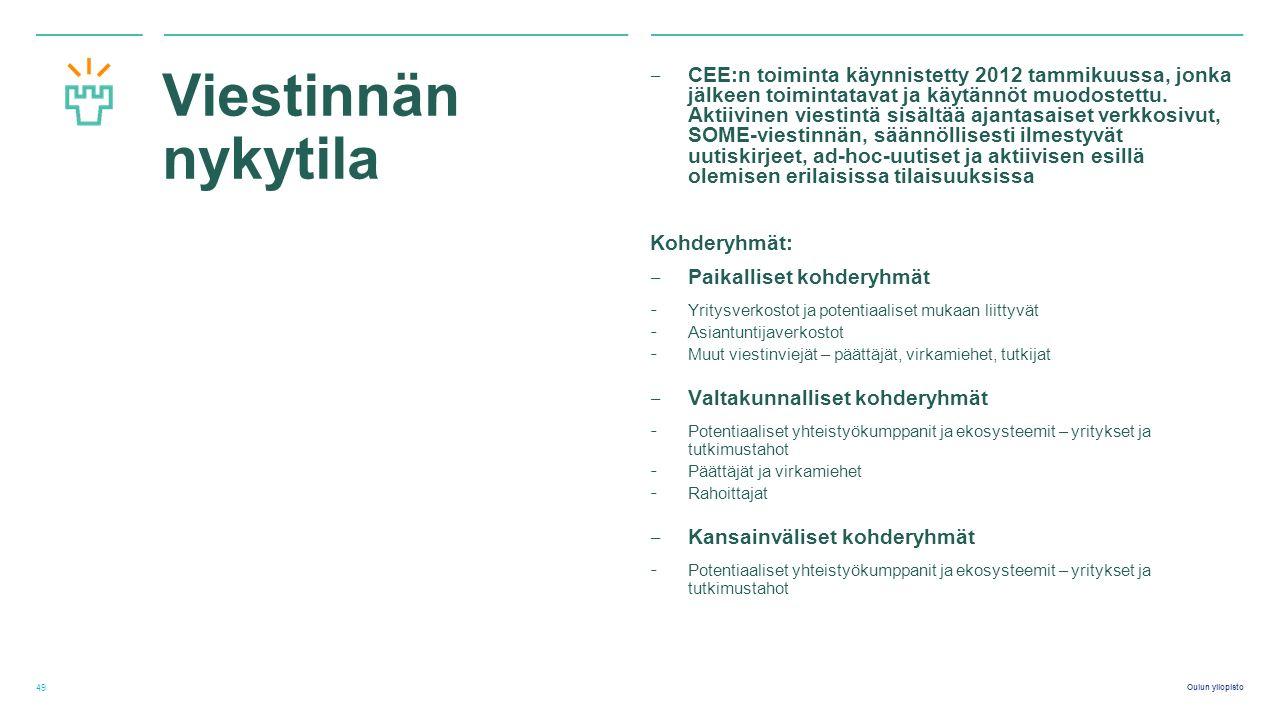 Oulun yliopisto Viestinnän nykytila ‒ CEE:n toiminta käynnistetty 2012 tammikuussa, jonka jälkeen toimintatavat ja käytännöt muodostettu.