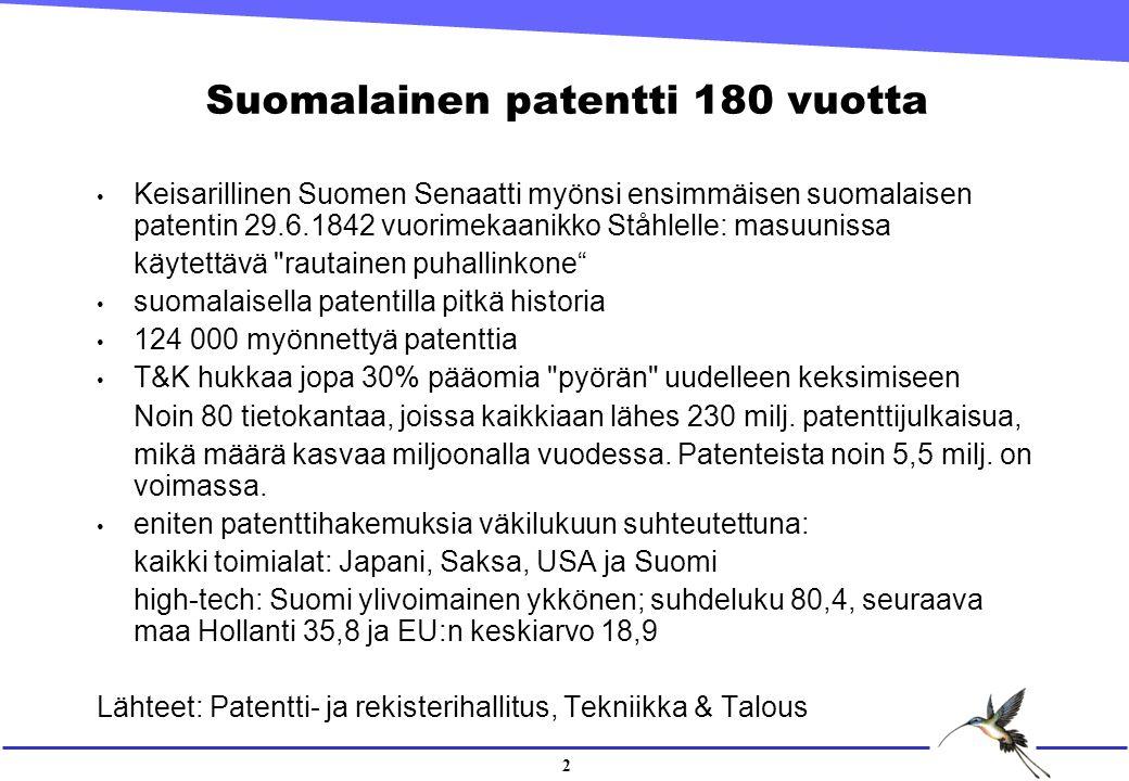 2 Suomalainen patentti 180 vuotta Keisarillinen Suomen Senaatti myönsi ensimmäisen suomalaisen patentin 29.6.1842 vuorimekaanikko Ståhlelle: masuunissa käytettävä rautainen puhallinkone suomalaisella patentilla pitkä historia 124 000 myönnettyä patenttia T&K hukkaa jopa 30% pääomia pyörän uudelleen keksimiseen Noin 80 tietokantaa, joissa kaikkiaan lähes 230 milj.