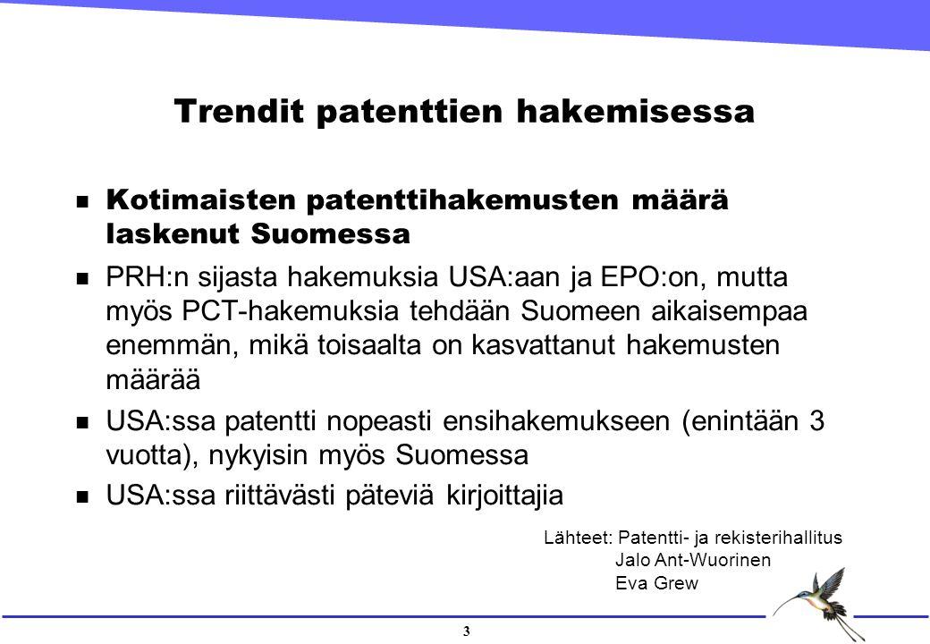 3 Trendit patenttien hakemisessa n Kotimaisten patenttihakemusten määrä laskenut Suomessa n PRH:n sijasta hakemuksia USA:aan ja EPO:on, mutta myös PCT-hakemuksia tehdään Suomeen aikaisempaa enemmän, mikä toisaalta on kasvattanut hakemusten määrää n USA:ssa patentti nopeasti ensihakemukseen (enintään 3 vuotta), nykyisin myös Suomessa USA:ssa riittävästi päteviä kirjoittajia Lähteet: Patentti- ja rekisterihallitus Jalo Ant-Wuorinen Eva Grew