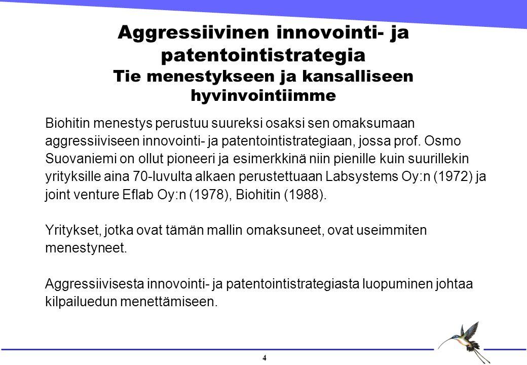 4 Aggressiivinen innovointi- ja patentointistrategia Tie menestykseen ja kansalliseen hyvinvointiimme Biohitin menestys perustuu suureksi osaksi sen omaksumaan aggressiiviseen innovointi- ja patentointistrategiaan, jossa prof.