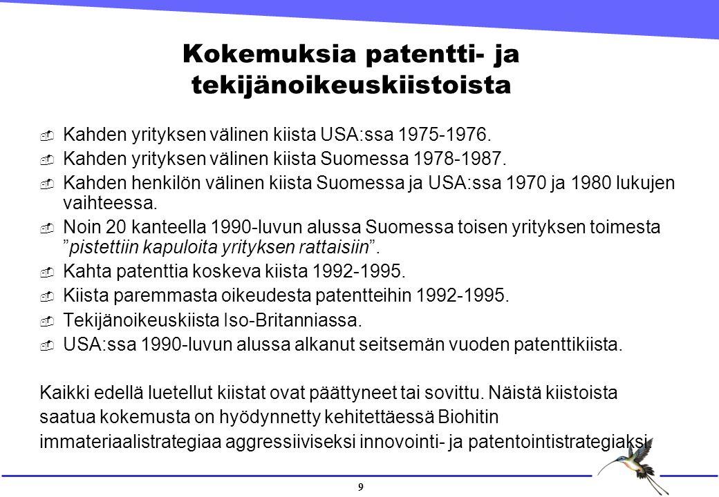 9 Kokemuksia patentti- ja tekijänoikeuskiistoista  Kahden yrityksen välinen kiista USA:ssa 1975-1976.