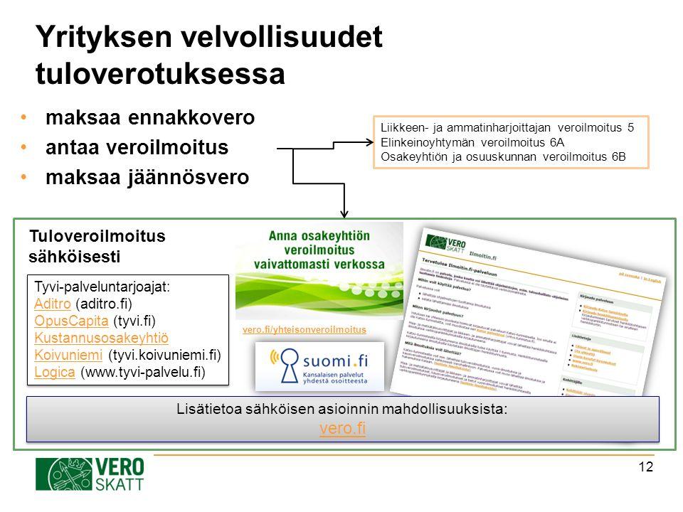 Tyvi-palveluntarjoajat: AditroAditro (aditro.fi) OpusCapitaOpusCapita (tyvi.fi) Kustannusosakeyhtiö KoivuniemiKustannusosakeyhtiö Koivuniemi (tyvi.koivuniemi.fi) LogicaLogica (www.tyvi-palvelu.fi) Tyvi-palveluntarjoajat: AditroAditro (aditro.fi) OpusCapitaOpusCapita (tyvi.fi) Kustannusosakeyhtiö KoivuniemiKustannusosakeyhtiö Koivuniemi (tyvi.koivuniemi.fi) LogicaLogica (www.tyvi-palvelu.fi) Yrityksen velvollisuudet tuloverotuksessa maksaa ennakkovero antaa veroilmoitus maksaa jäännösvero 12 Lisätietoa sähköisen asioinnin mahdollisuuksista: vero.fi Lisätietoa sähköisen asioinnin mahdollisuuksista: vero.fi Tuloveroilmoitus sähköisesti Liikkeen- ja ammatinharjoittajan veroilmoitus 5 Elinkeinoyhtymän veroilmoitus 6A Osakeyhtiön ja osuuskunnan veroilmoitus 6B vero.fi/yhteisonveroilmoitus