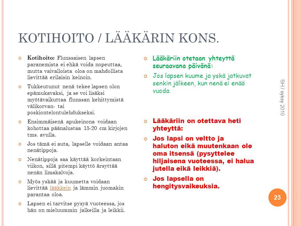 KOTIHOITO / LÄÄKÄRIN KONS.