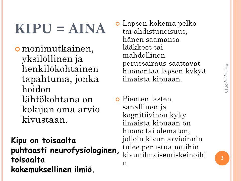 KIPU = AINA monimutkainen, yksilöllinen ja henkilökohtainen tapahtuma, jonka hoidon lähtökohtana on kokijan oma arvio kivustaan.
