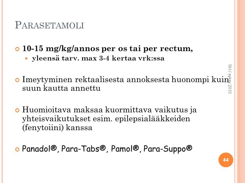 P ARASETAMOLI 10-15 mg/kg/annos per os tai per rectum, yleensä tarv.