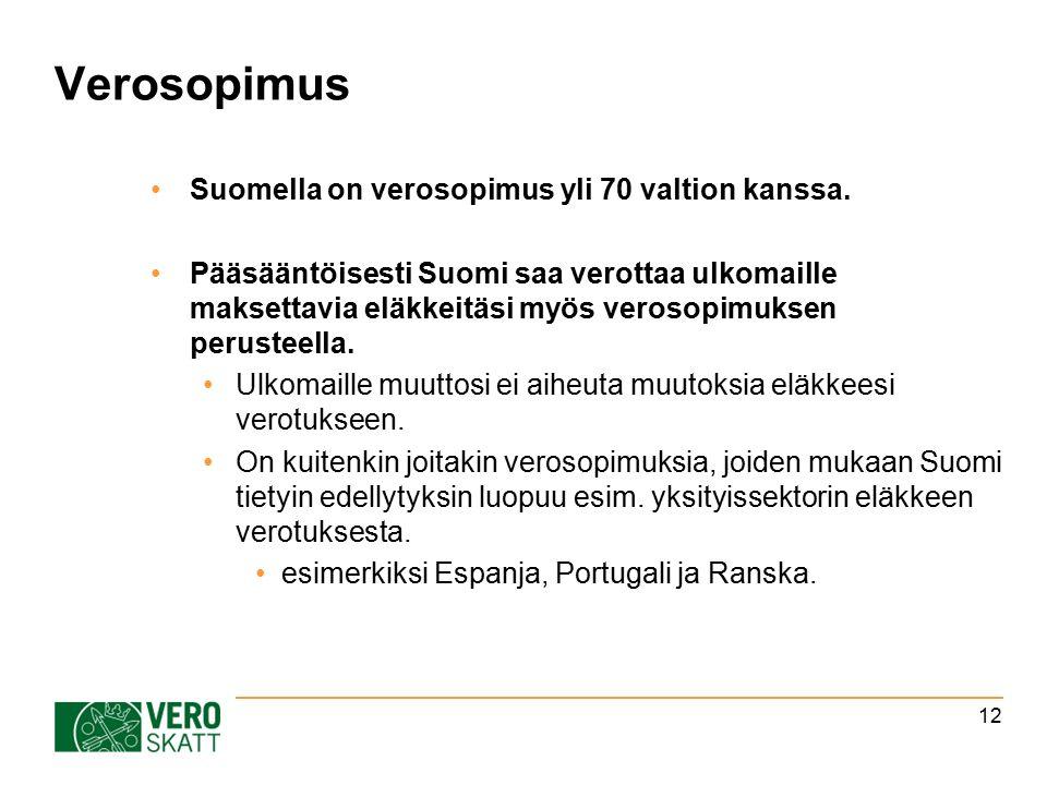 Verosopimus Suomella on verosopimus yli 70 valtion kanssa.
