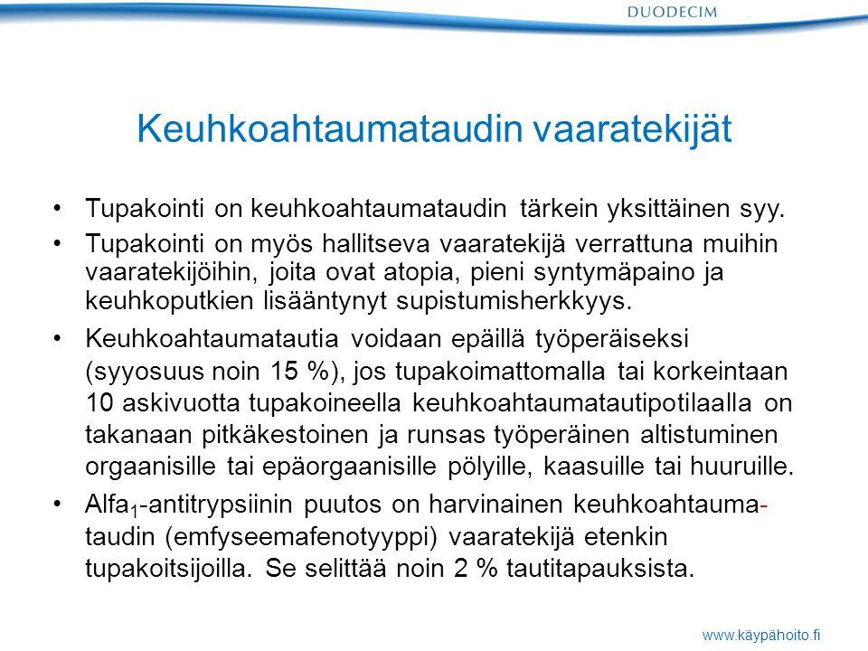 www.käypähoito.fi Keuhkoahtaumataudin vaaratekijät Tupakointi on keuhkoahtaumataudin tärkein yksittäinen syy.