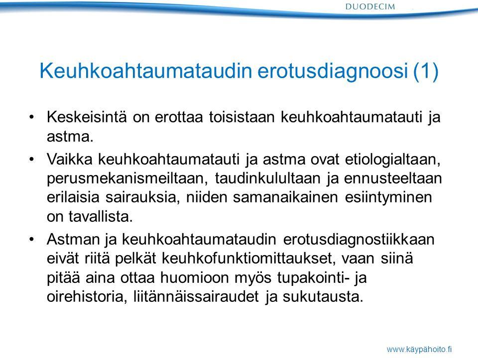 www.käypähoito.fi Keuhkoahtaumataudin erotusdiagnoosi (1) Keskeisintä on erottaa toisistaan keuhkoahtaumatauti ja astma.