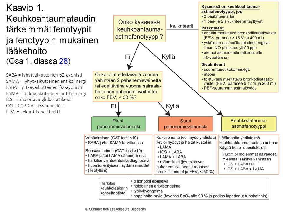 Kaavio 1. Keuhkoahtaumataudin tärkeimmät fenotyypit ja fenotyypin mukainen lääkehoito (Osa 1.