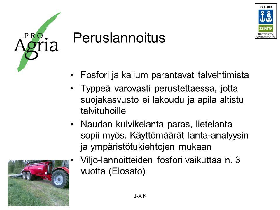 Peruslannoitus Fosfori ja kalium parantavat talvehtimista Typpeä varovasti perustettaessa, jotta suojakasvusto ei lakoudu ja apila altistu talvituhoille Naudan kuivikelanta paras, lietelanta sopii myös.