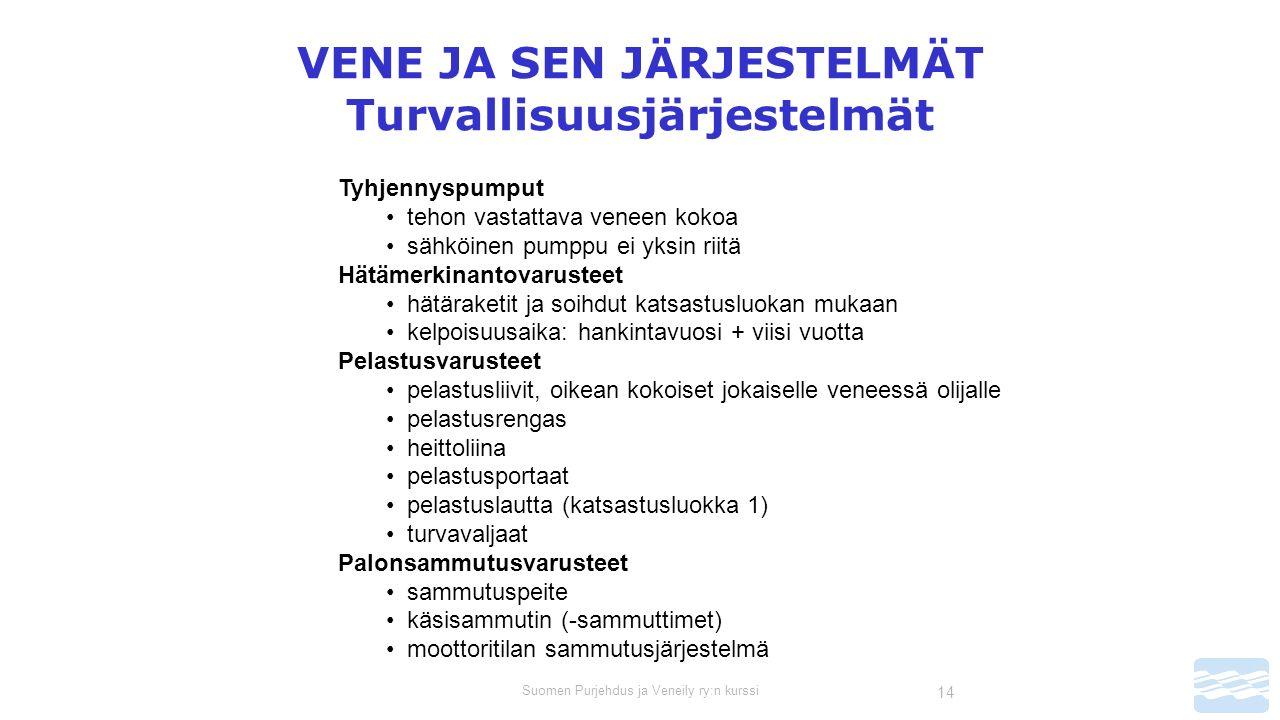Suomen Purjehdus ja Veneily ry:n kurssi 14 VENE JA SEN JÄRJESTELMÄT Turvallisuusjärjestelmät Tyhjennyspumput tehon vastattava veneen kokoa sähköinen pumppu ei yksin riitä Hätämerkinantovarusteet hätäraketit ja soihdut katsastusluokan mukaan kelpoisuusaika: hankintavuosi + viisi vuotta Pelastusvarusteet pelastusliivit, oikean kokoiset jokaiselle veneessä olijalle pelastusrengas heittoliina pelastusportaat pelastuslautta (katsastusluokka 1) turvavaljaat Palonsammutusvarusteet sammutuspeite käsisammutin (-sammuttimet) moottoritilan sammutusjärjestelmä