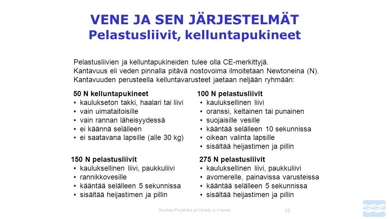 Suomen Purjehdus ja Veneily ry:n kurssi 15 VENE JA SEN JÄRJESTELMÄT Pelastusliivit, kelluntapukineet Pelastusliivien ja kelluntapukineiden tulee olla CE-merkittyjä.