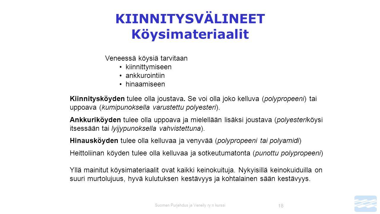 Suomen Purjehdus ja Veneily ry:n kurssi 18 KIINNITYSVÄLINEET Köysimateriaalit Veneessä köysiä tarvitaan kiinnittymiseen ankkurointiin hinaamiseen Kiinnitysköyden tulee olla joustava.