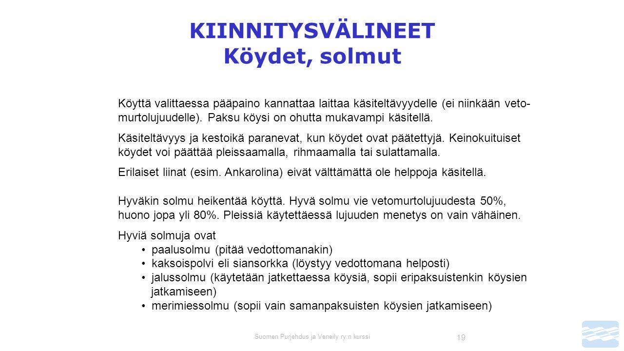 Suomen Purjehdus ja Veneily ry:n kurssi 19 KIINNITYSVÄLINEET Köydet, solmut Köyttä valittaessa pääpaino kannattaa laittaa käsiteltävyydelle (ei niinkään veto- murtolujuudelle).