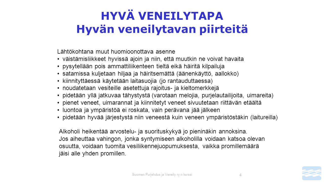 Suomen Purjehdus ja Veneily ry:n kurssi 4 HYVÄ VENEILYTAPA Hyvän veneilytavan piirteitä Lähtökohtana muut huomioonottava asenne väistämisliikkeet hyvissä ajoin ja niin, että muutkin ne voivat havaita pysytellään pois ammattiliikenteen tieltä eikä häiritä kilpailuja satamissa kuljetaan hiljaa ja häiritsemättä (äänenkäyttö, aallokko) kiinnityttäessä käytetään laitasuojia (jo rantauduttaessa) noudatetaan vesiteille asetettuja rajoitus- ja kieltomerkkejä pidetään yllä jatkuvaa tähystystä (varotaan melojia, purjelautailijoita, uimareita) pienet veneet, uimarannat ja kiinnitetyt veneet sivuutetaan riittävän etäältä luontoa ja ympäristöä ei roskata, vain perävana jää jälkeen pidetään hyvää järjestystä niin veneestä kuin veneen ympäristöstäkin (laitureilla) Alkoholi heikentää arvostelu- ja suorituskykyä jo pieninäkin annoksina.