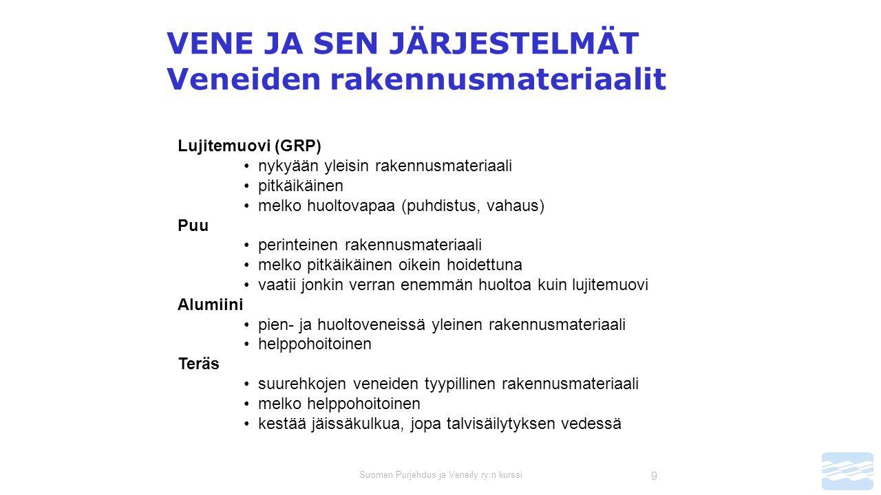 Suomen Purjehdus ja Veneily ry:n kurssi 9 VENE JA SEN JÄRJESTELMÄT Veneiden rakennusmateriaalit Lujitemuovi (GRP) nykyään yleisin rakennusmateriaali pitkäikäinen melko huoltovapaa (puhdistus, vahaus) Puu perinteinen rakennusmateriaali melko pitkäikäinen oikein hoidettuna vaatii jonkin verran enemmän huoltoa kuin lujitemuovi Alumiini pien- ja huoltoveneissä yleinen rakennusmateriaali helppohoitoinen Teräs suurehkojen veneiden tyypillinen rakennusmateriaali melko helppohoitoinen kestää jäissäkulkua, jopa talvisäilytyksen vedessä