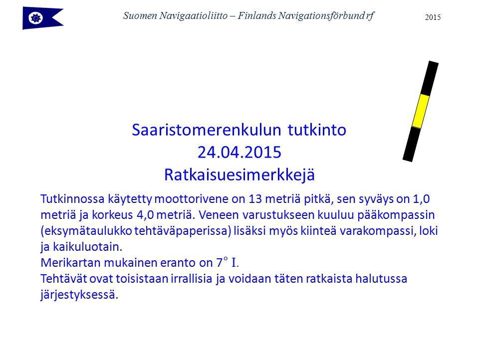 Suomen Navigaatioliitto – Finlands Navigationsförbund rf 2015 Tutkinnossa käytetty moottorivene on 13 metriä pitkä, sen syväys on 1,0 metriä ja korkeus 4,0 metriä.
