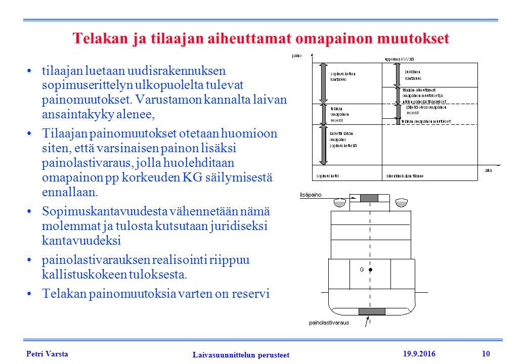 Petri Varsta Laivasuunnittelun perusteet 19.9.201610 Telakan ja tilaajan aiheuttamat omapainon muutokset tilaajan luetaan uudisrakennuksen sopimuserittelyn ulkopuolelta tulevat painomuutokset.