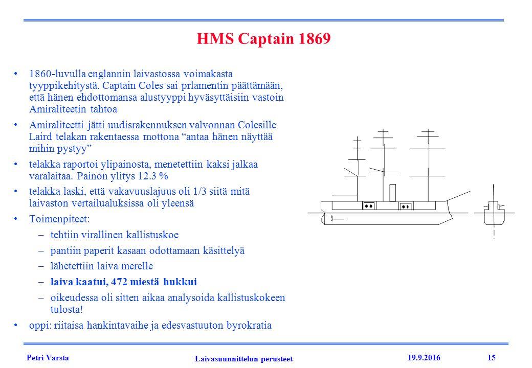 Petri Varsta Laivasuunnittelun perusteet 19.9.201615 HMS Captain 1869 1860-luvulla englannin laivastossa voimakasta tyyppikehitystä.