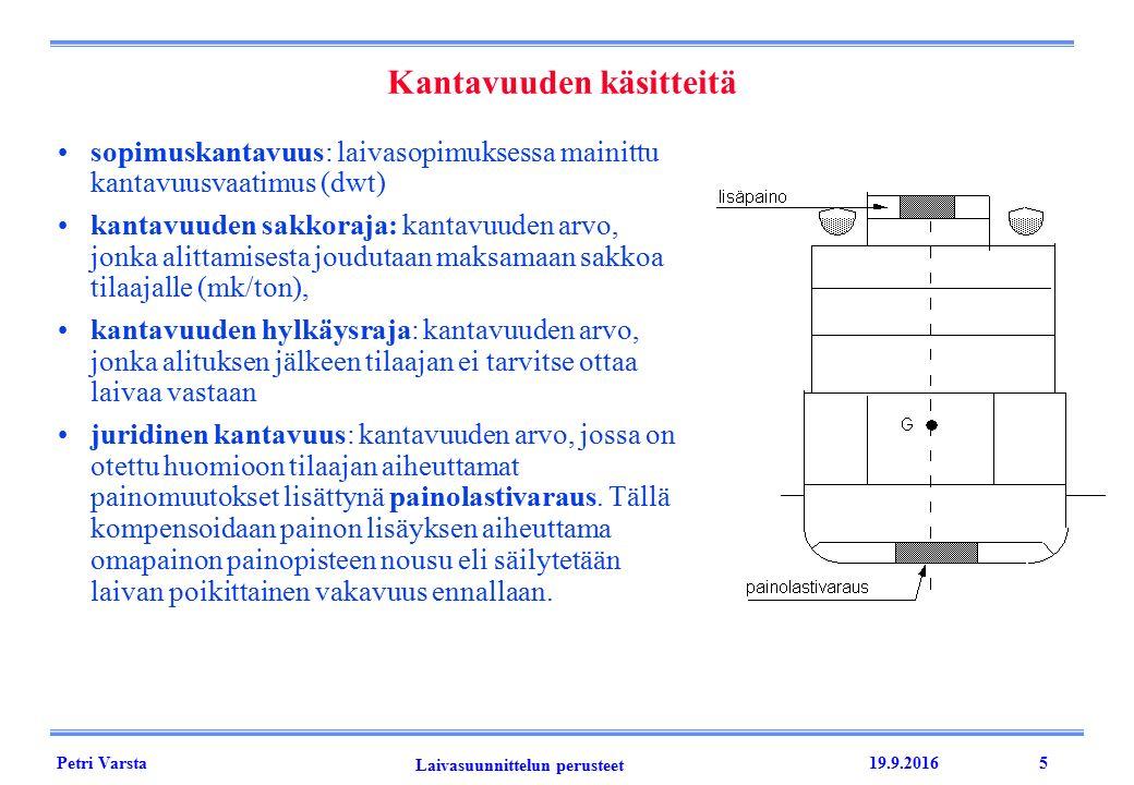 Petri Varsta Laivasuunnittelun perusteet 19.9.20165 Kantavuuden käsitteitä sopimuskantavuus: laivasopimuksessa mainittu kantavuusvaatimus (dwt) kantavuuden sakkoraja: kantavuuden arvo, jonka alittamisesta joudutaan maksamaan sakkoa tilaajalle (mk/ton), kantavuuden hylkäysraja: kantavuuden arvo, jonka alituksen jälkeen tilaajan ei tarvitse ottaa laivaa vastaan juridinen kantavuus: kantavuuden arvo, jossa on otettu huomioon tilaajan aiheuttamat painomuutokset lisättynä painolastivaraus.