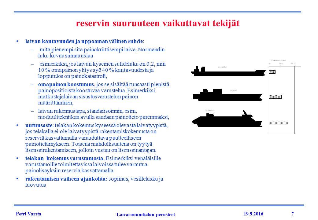 Petri Varsta Laivasuunnittelun perusteet 19.9.20167 reservin suuruuteen vaikuttavat tekijät laivan kantavuuden ja uppoaman välinen suhde: – mitä pienempi sitä painokriittisempi laiva, Normandin luku kuvaa samaa asiaa – esimerkiksi, jos laivan kyseinen suhdeluku on 0.2, niin 10 % omapainon ylitys syö 40 % kantavuudesta ja lopputulos on painokatastrofi, –omapainon koostumus, jos se sisältää runsaasti pienistä painopositioista koostuvaa varustelua.
