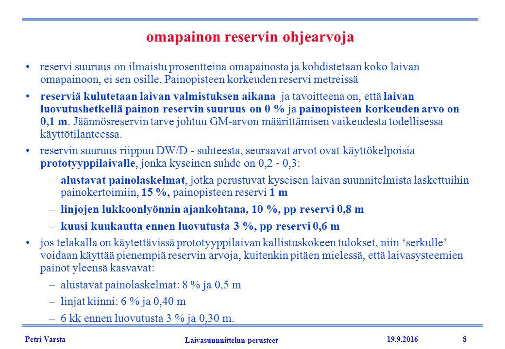 Petri Varsta Laivasuunnittelun perusteet 19.9.20168 omapainon reservin ohjearvoja reservi suuruus on ilmaistu prosentteina omapainosta ja kohdistetaan koko laivan omapainoon, ei sen osille.