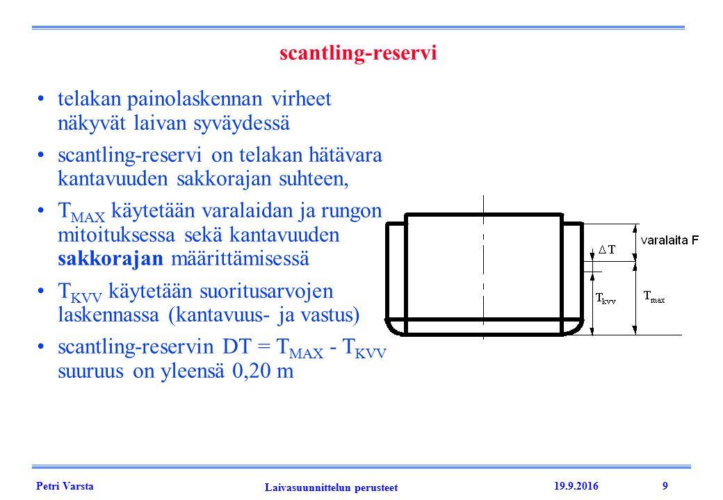 Petri Varsta Laivasuunnittelun perusteet 19.9.20169 telakan painolaskennan virheet näkyvät laivan syväydessä scantling-reservi on telakan hätävara kantavuuden sakkorajan suhteen, T MAX käytetään varalaidan ja rungon mitoituksessa sekä kantavuuden sakkorajan määrittämisessä T KVV käytetään suoritusarvojen laskennassa (kantavuus- ja vastus) scantling-reservin DT = T MAX - T KVV suuruus on yleensä 0,20 m scantling-reservi