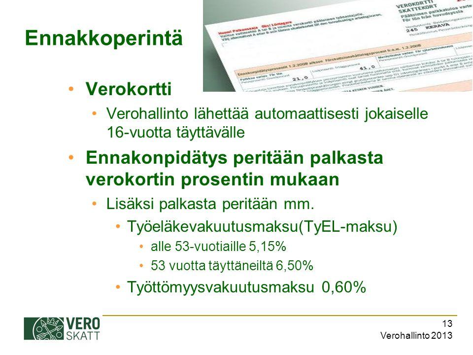 Verohallinto 2013 13 Ennakkoperintä Verokortti Verohallinto lähettää automaattisesti jokaiselle 16-vuotta täyttävälle Ennakonpidätys peritään palkasta verokortin prosentin mukaan Lisäksi palkasta peritään mm.