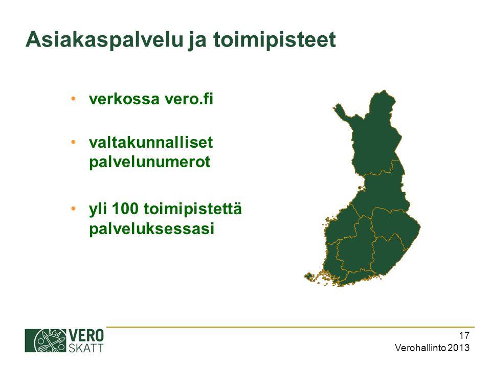Verohallinto 2013 17 Asiakaspalvelu ja toimipisteet verkossa vero.fi valtakunnalliset palvelunumerot yli 100 toimipistettä palveluksessasi
