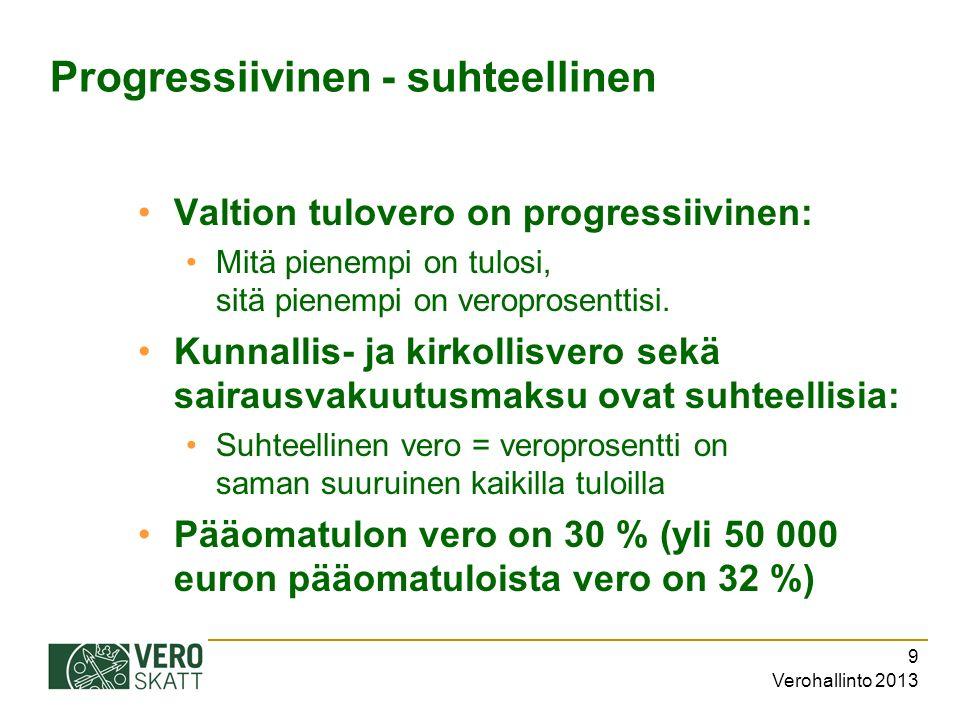 Verohallinto 2013 9 Progressiivinen - suhteellinen Valtion tulovero on progressiivinen: Mitä pienempi on tulosi, sitä pienempi on veroprosenttisi.