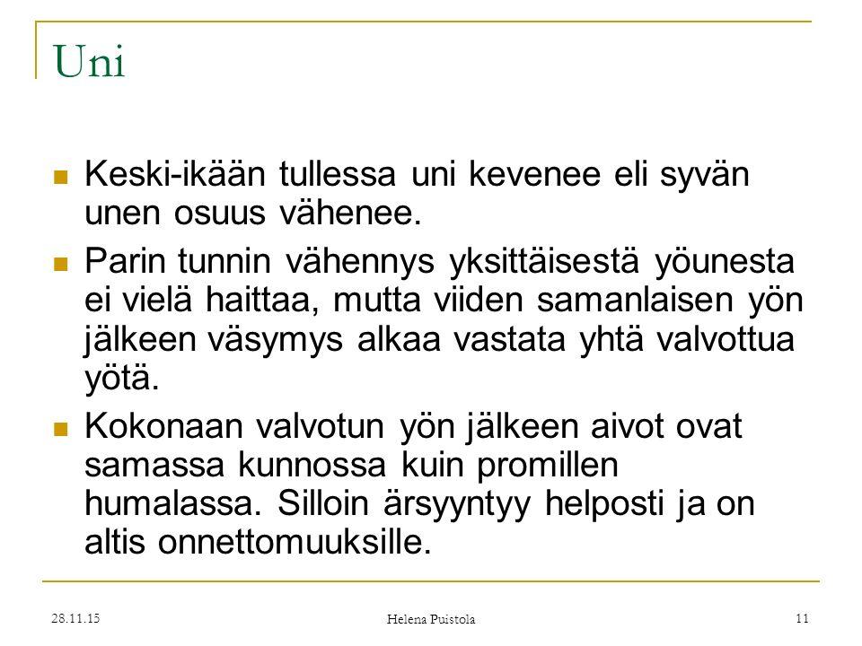 28.11.15 Helena Puistola 11 Uni Keski-ikään tullessa uni kevenee eli syvän unen osuus vähenee.