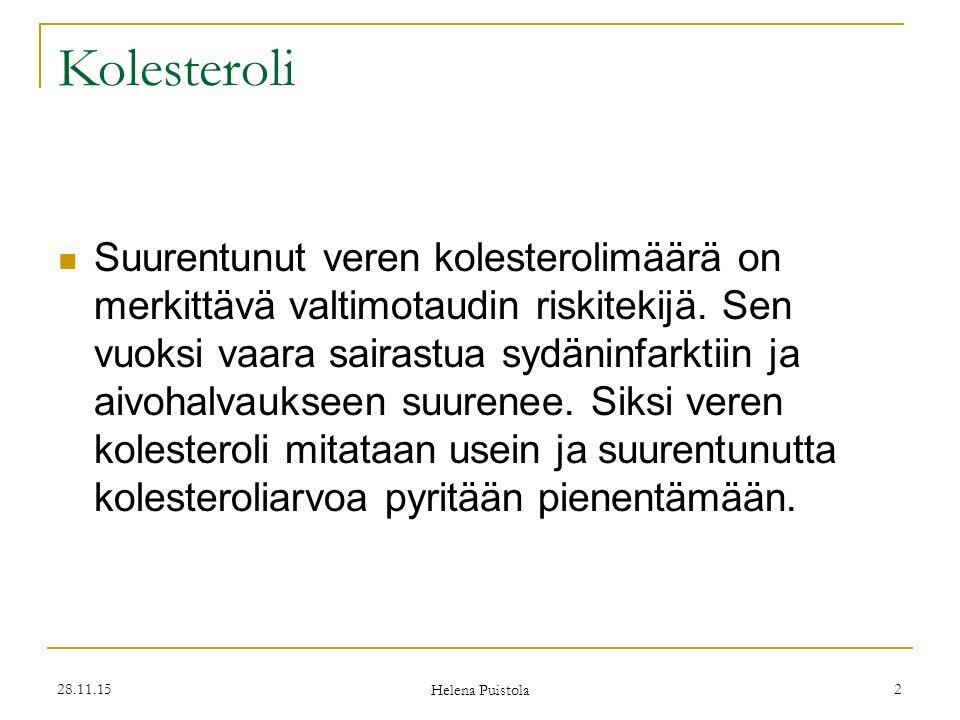 28.11.15 Helena Puistola 2 Kolesteroli Suurentunut veren kolesterolimäärä on merkittävä valtimotaudin riskitekijä.
