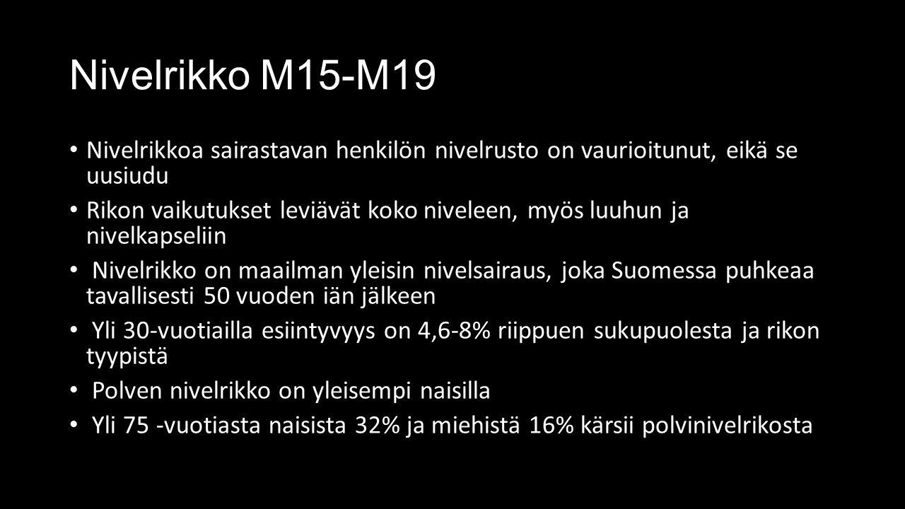Nivelrikko M15-M19 Nivelrikkoa sairastavan henkilön nivelrusto on vaurioitunut, eikä se uusiudu Rikon vaikutukset leviävät koko niveleen, myös luuhun ja nivelkapseliin Nivelrikko on maailman yleisin nivelsairaus, joka Suomessa puhkeaa tavallisesti 50 vuoden iän jälkeen Yli 30-vuotiailla esiintyvyys on 4,6-8% riippuen sukupuolesta ja rikon tyypistä Polven nivelrikko on yleisempi naisilla Yli 75 -vuotiasta naisista 32% ja miehistä 16% kärsii polvinivelrikosta