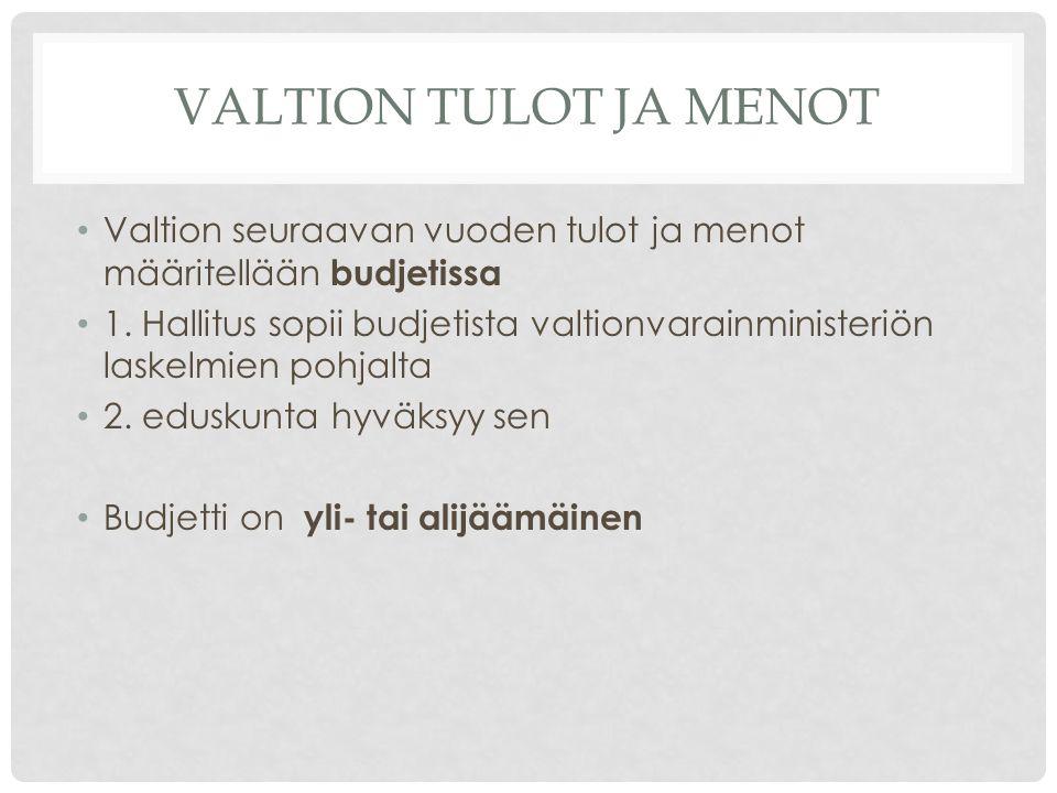 VALTION TULOT JA MENOT Valtion seuraavan vuoden tulot ja menot määritellään budjetissa 1.