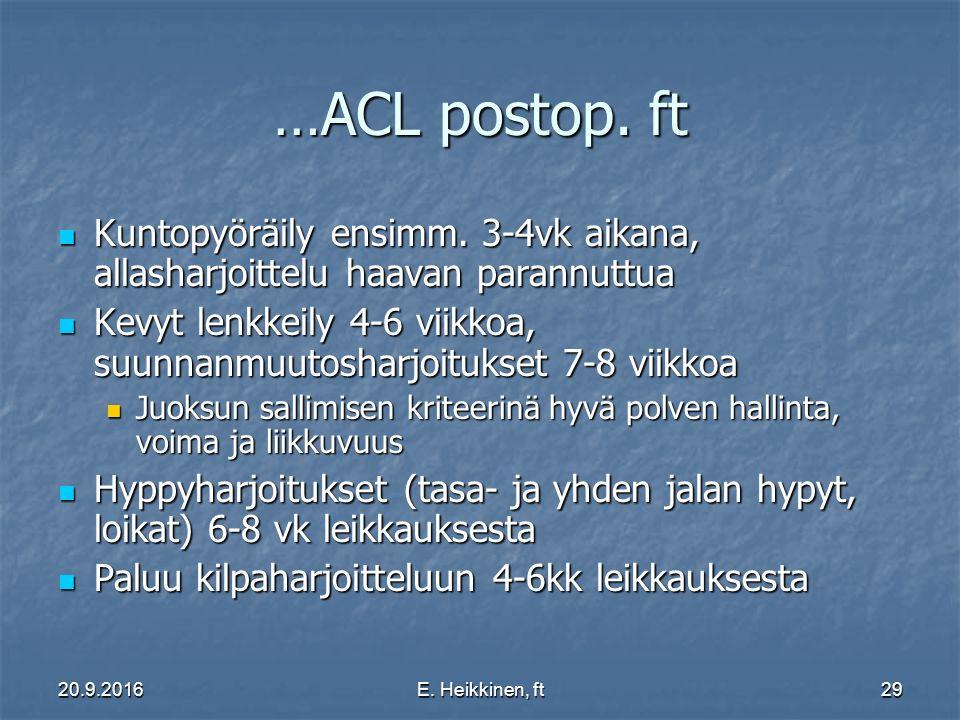 20.9.2016E. Heikkinen, ft29 …ACL postop. ft Kuntopyöräily ensimm.