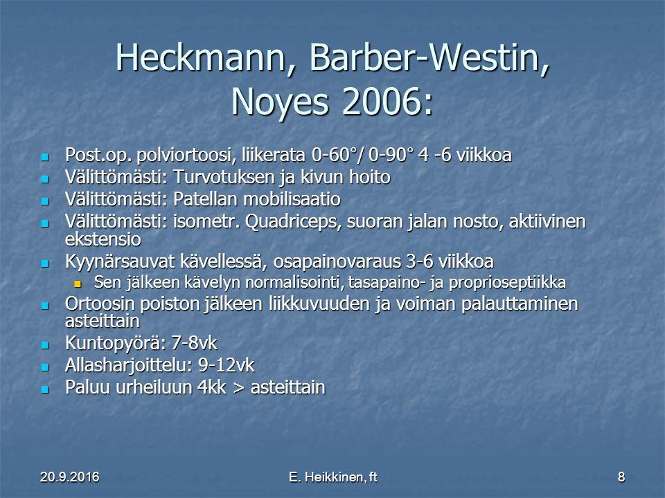 20.9.2016E. Heikkinen, ft8 Heckmann, Barber-Westin, Noyes 2006: Post.op.