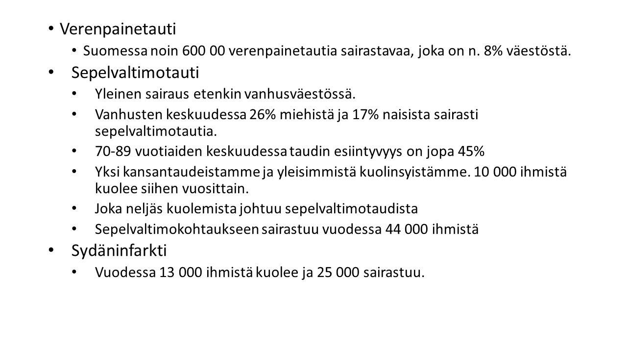 Verenpainetauti Suomessa noin 600 00 verenpainetautia sairastavaa, joka on n.
