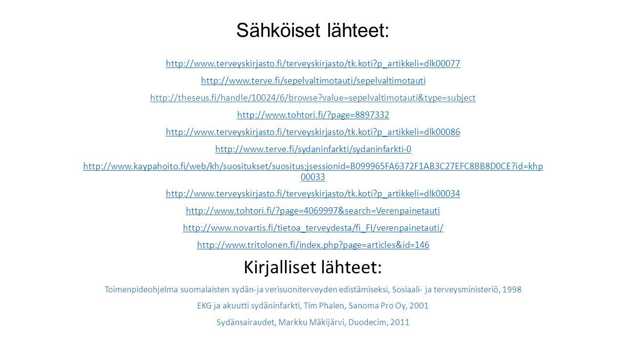 Sähköiset lähteet: http://www.terveyskirjasto.fi/terveyskirjasto/tk.koti p_artikkeli=dlk00077 http://www.terve.fi/sepelvaltimotauti/sepelvaltimotauti http://theseus.fi/handle/10024/6/browse value=sepelvaltimotauti&type=subject http://www.tohtori.fi/ page=8897332 http://www.terveyskirjasto.fi/terveyskirjasto/tk.koti p_artikkeli=dlk00086 http://www.terve.fi/sydaninfarkti/sydaninfarkti-0 http://www.kaypahoito.fi/web/kh/suositukset/suositus;jsessionid=B099965FA6372F1AB3C27EFC8BB8D0CE id=khp 00033 http://www.terveyskirjasto.fi/terveyskirjasto/tk.koti p_artikkeli=dlk00034 http://www.tohtori.fi/ page=4069997&search=Verenpainetauti http://www.novartis.fi/tietoa_terveydesta/fi_FI/verenpainetauti/ http://www.tritolonen.fi/index.php page=articles&id=146 Kirjalliset lähteet: Toimenpideohjelma suomalaisten sydän-ja verisuoniterveyden edistämiseksi, Sosiaali- ja terveysministeriö, 1998 EKG ja akuutti sydäninfarkti, Tim Phalen, Sanoma Pro Oy, 2001 Sydänsairaudet, Markku Mäkijärvi, Duodecim, 2011