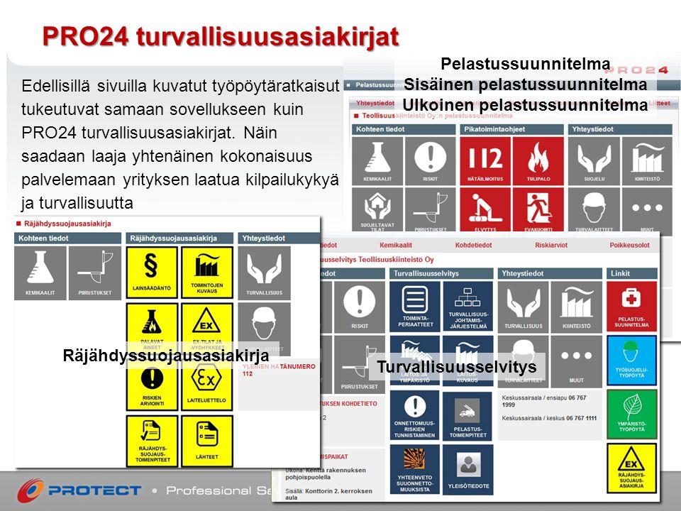 PRO24 turvallisuusasiakirjat Edellisillä sivuilla kuvatut työpöytäratkaisut tukeutuvat samaan sovellukseen kuin PRO24 turvallisuusasiakirjat.
