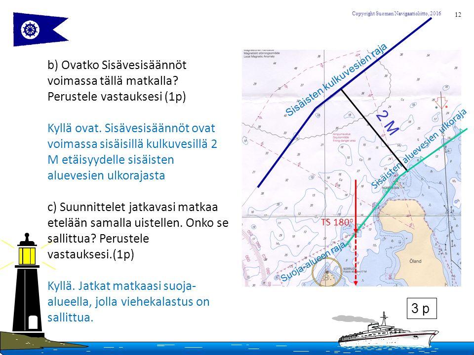 12 Copyright Suomen Navigaatioliitto, 2016 b) Ovatko Sisävesisäännöt voimassa tällä matkalla.