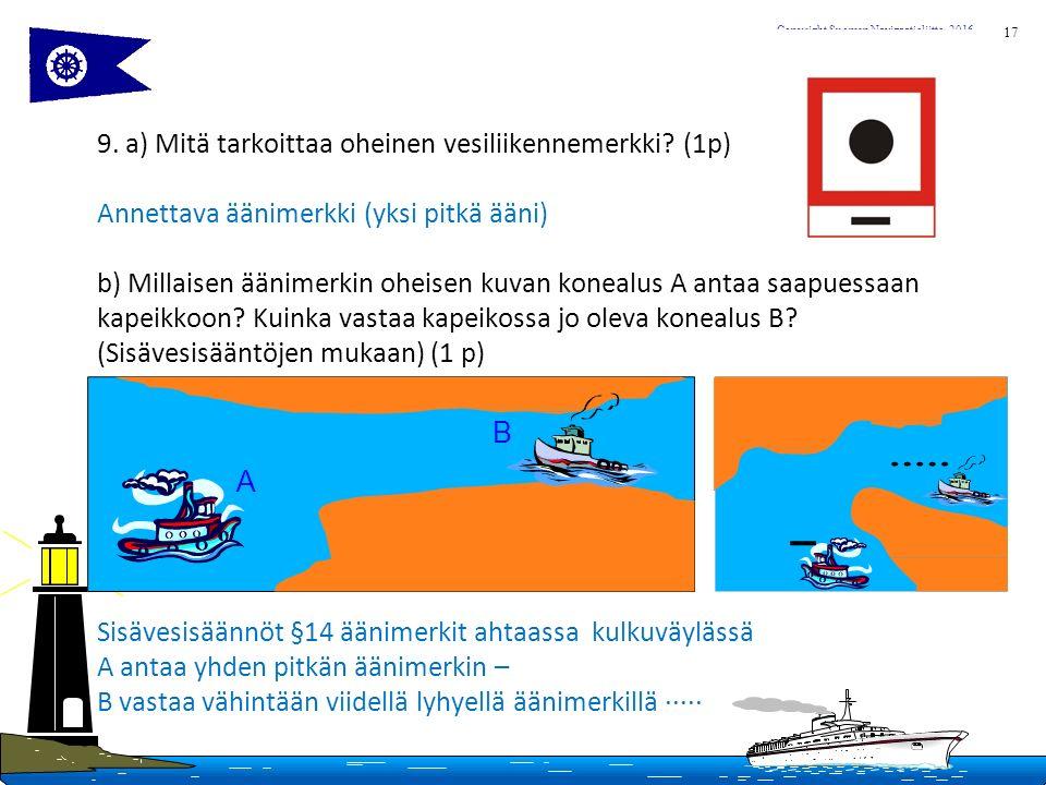 17 Copyright Suomen Navigaatioliitto, 2016 9. a) Mitä tarkoittaa oheinen vesiliikennemerkki.