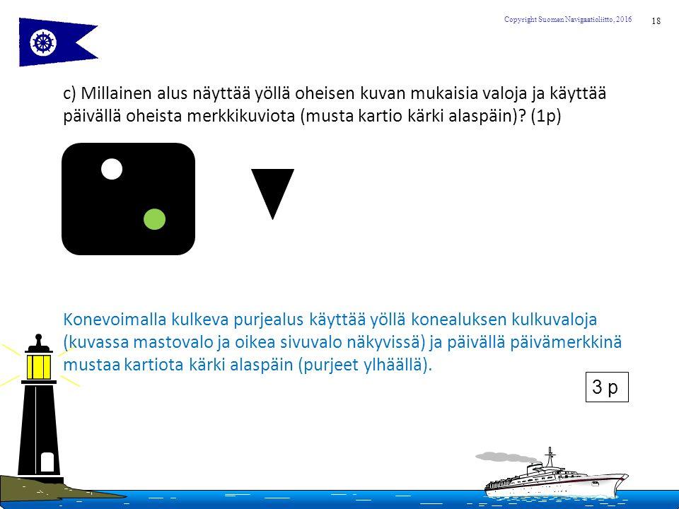 18 Copyright Suomen Navigaatioliitto, 2016 c) Millainen alus näyttää yöllä oheisen kuvan mukaisia valoja ja käyttää päivällä oheista merkkikuviota (musta kartio kärki alaspäin).