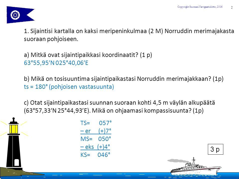 2 Copyright Suomen Navigaatioliitto, 2016 1.
