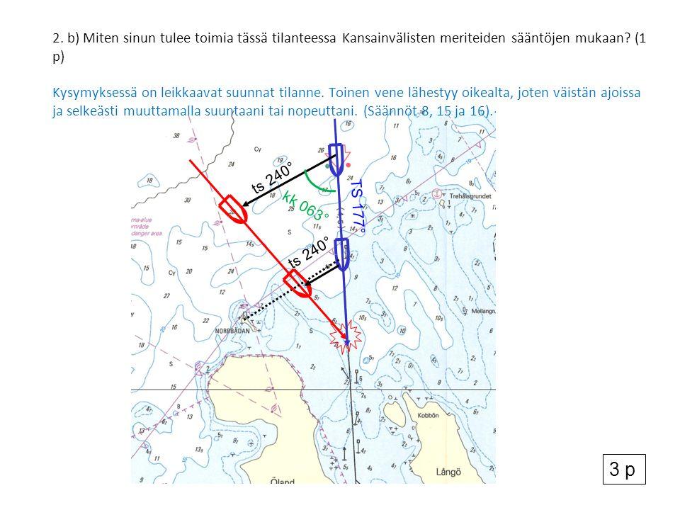 2. b) Miten sinun tulee toimia tässä tilanteessa Kansainvälisten meriteiden sääntöjen mukaan.