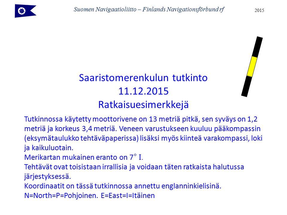 Suomen Navigaatioliitto – Finlands Navigationsförbund rf 2015 Tutkinnossa käytetty moottorivene on 13 metriä pitkä, sen syväys on 1,2 metriä ja korkeus 3,4 metriä.