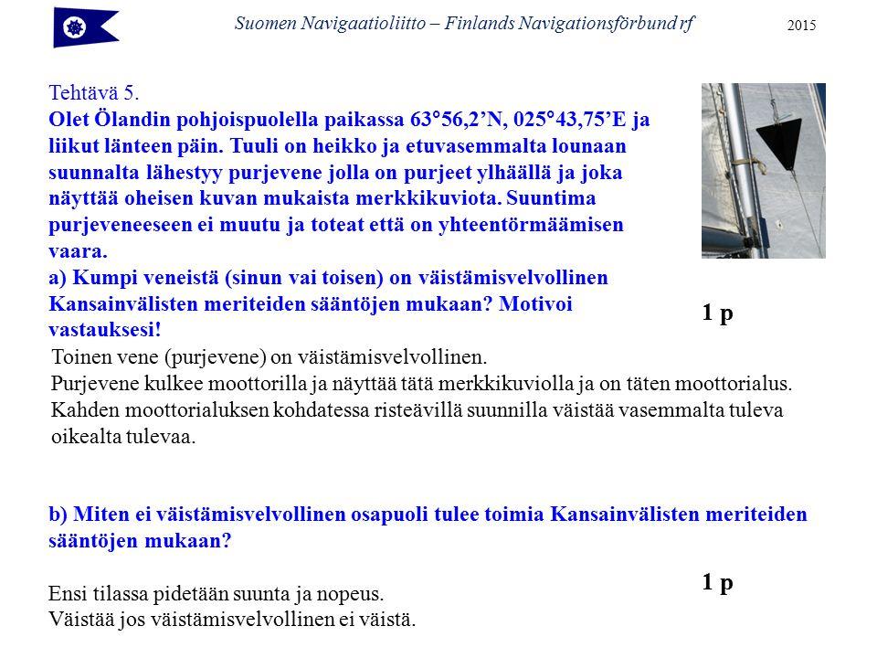 Suomen Navigaatioliitto – Finlands Navigationsförbund rf 2015 Tehtävä 5.