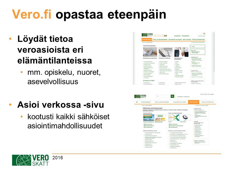 Vero.fi opastaa eteenpäin Löydät tietoa veroasioista eri elämäntilanteissa mm.
