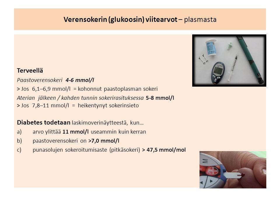 Verensokerin (glukoosin) viitearvot – plasmasta Terveellä Paastoverensokeri 4-6 mmol/l > Jos 6,1–6,9 mmol/l = kohonnut paastoplasman sokeri Aterian jälkeen / kahden tunnin sokerirasituksessa 5-8 mmol/l > Jos 7,8–11 mmol/l = heikentynyt sokerinsieto Diabetes todetaan laskimoverinäytteestä, kun… a)arvo ylittää 11 mmol/l useammin kuin kerran b)paastoverensokeri on >7,0 mmol/l c)punasolujen sokeroitumisaste (pitkäsokeri) > 47,5 mmol/mol