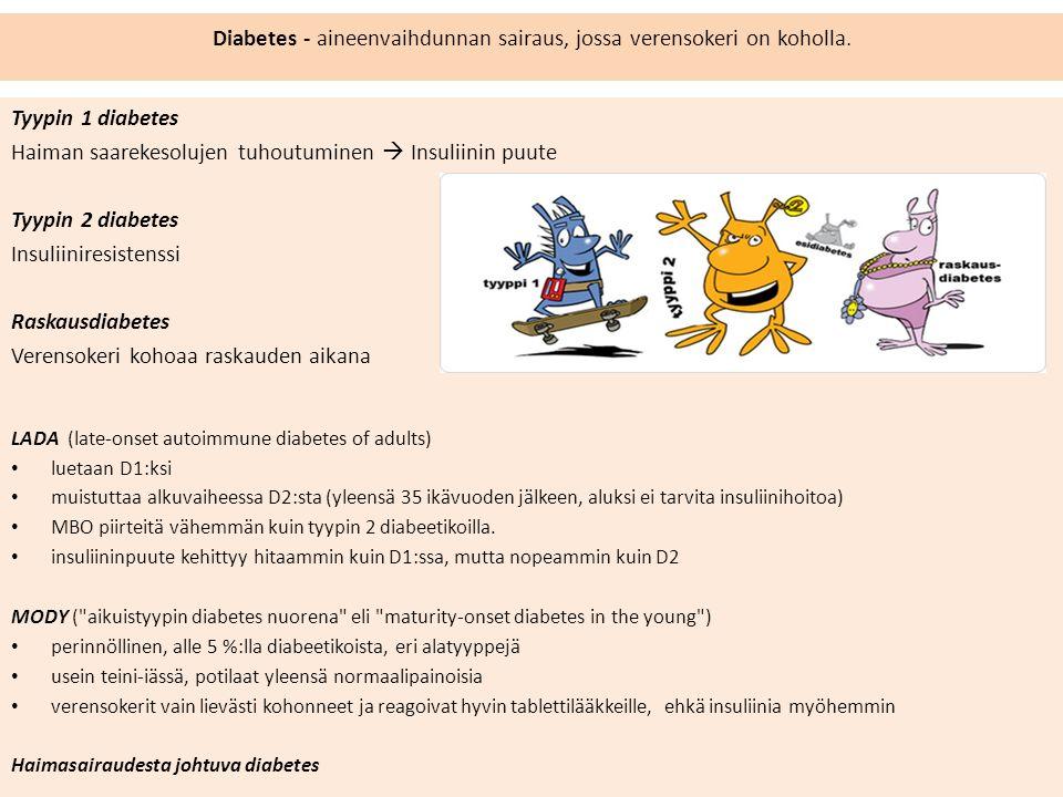 Diabetes - aineenvaihdunnan sairaus, jossa verensokeri on koholla.