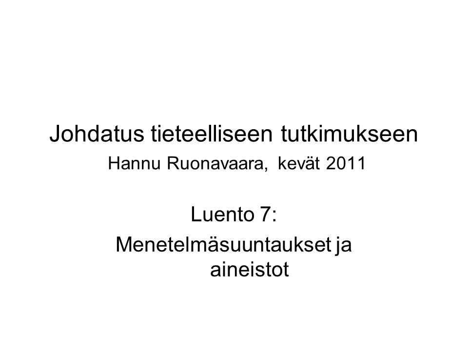 Johdatus tieteelliseen tutkimukseen Hannu Ruonavaara, kevät 2011 Luento 7: Menetelmäsuuntaukset ja aineistot